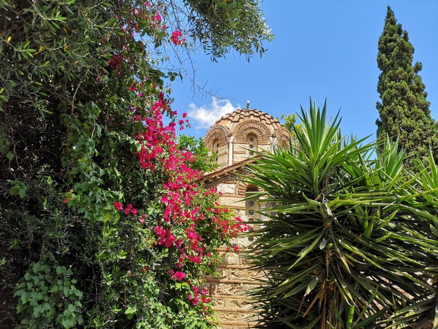 The domed roof of a very old Greek Orthodox Church amongst pretty bouganvillia and spiky trees