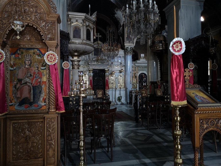 Pink, silver and gold church interior with the Virgin Mary and Christ