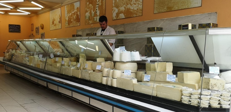 Goats and cow scheese counter with seller
