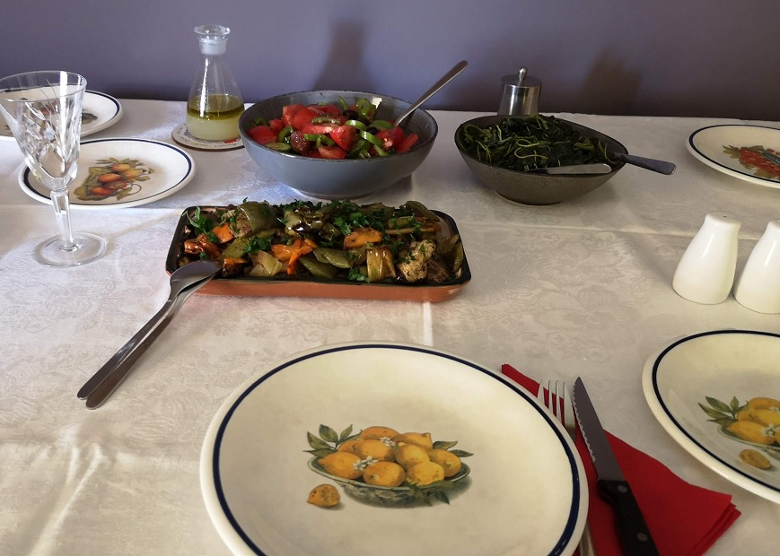 Table set with Greek vegetables for lunch