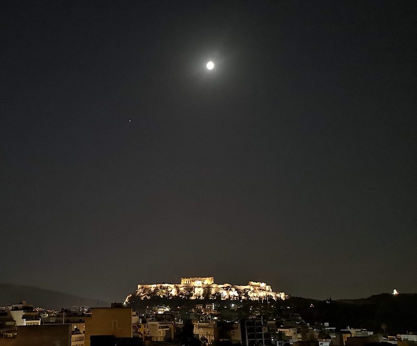 Night sky with moon and Parthenon