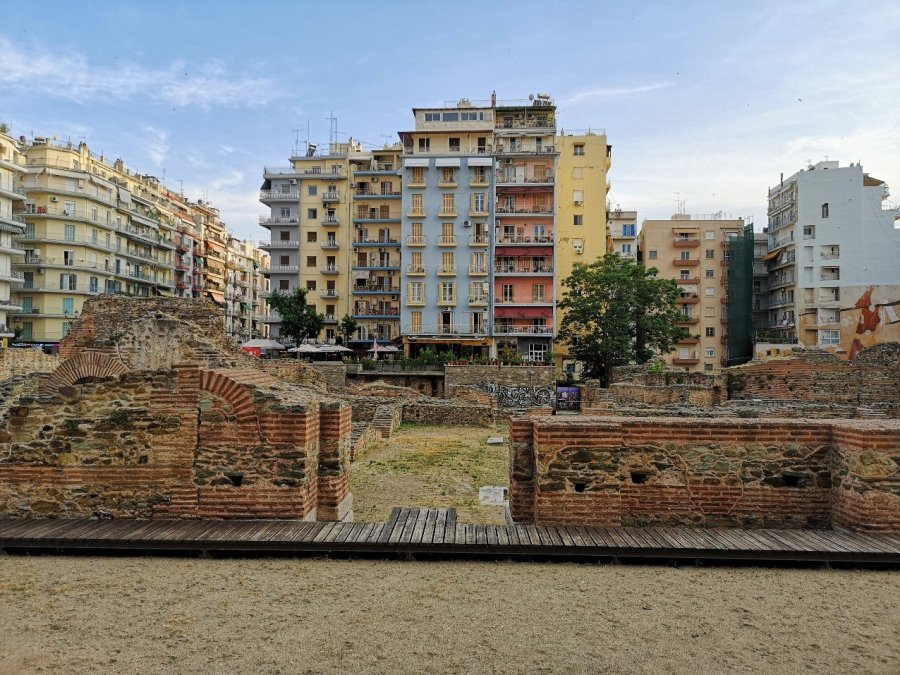 Apartment blocks and ancient walls