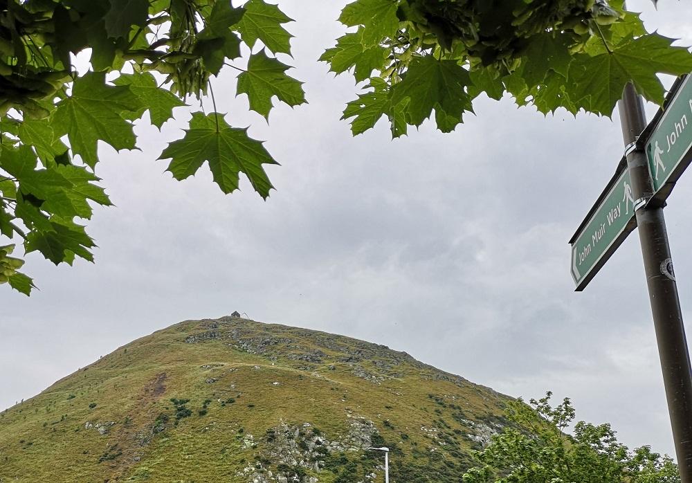 John Muir Way signpost to hill
