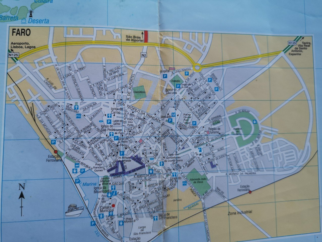 Paper map of Faro, Portugal